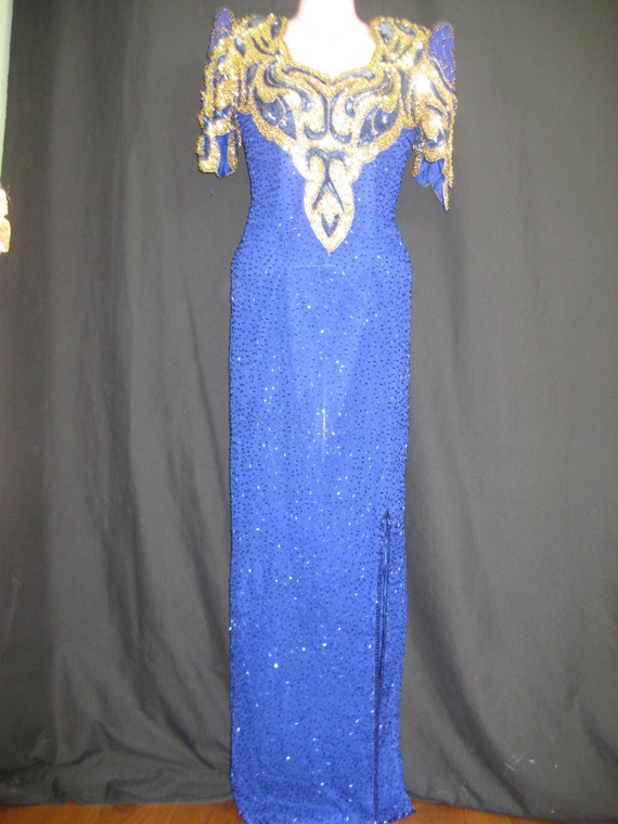 Blue and gold gown# 326