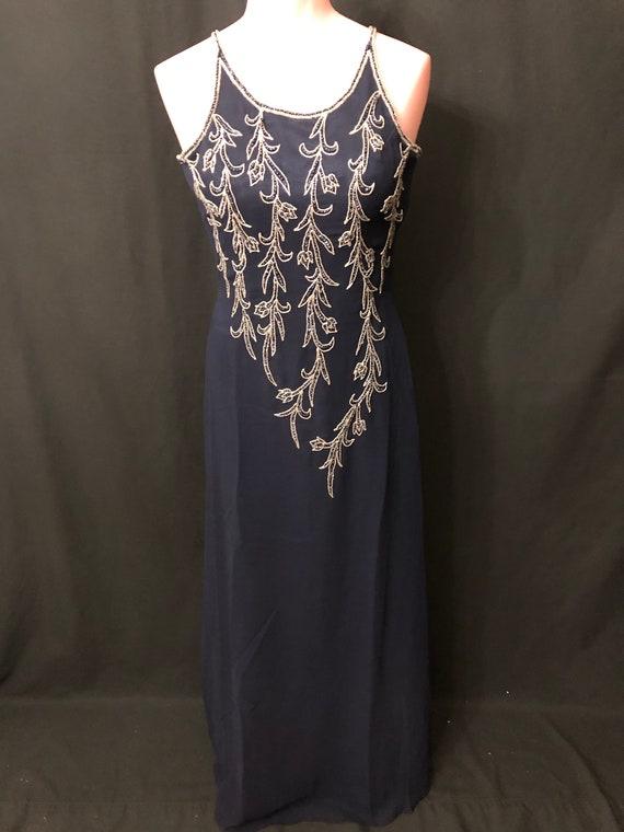 Navy Blue beaded dress #9503