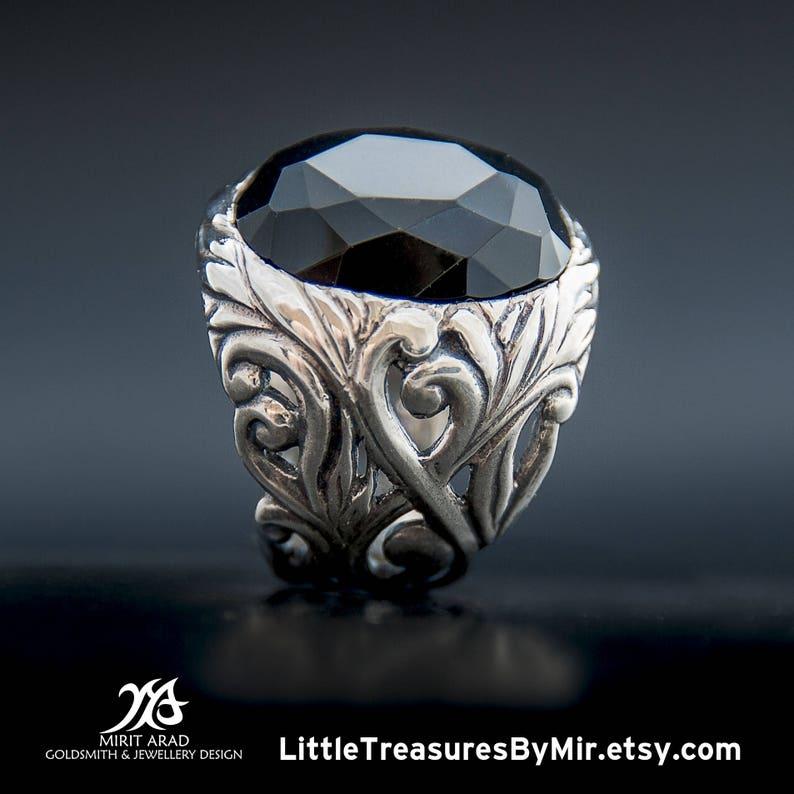 rock ring Depeche Mode ring huge statement ring leaves carving ring Onyx gem ring sterling silver Ethnic style ring natural black gem