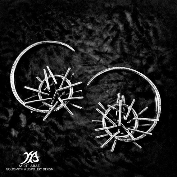 spiral earrings Depeche Mode music rocker jewelry spikes earrings hoop earrings gothic earrings rough earrings Depeche Mode earrings