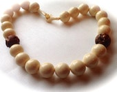 Oxen Bead Necklace. Wood Ojime Accent. Oxen Clasp.