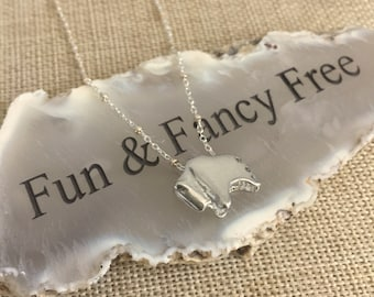 Buffalo Bison Slider Sterling Silver Charm Pendant on Sterling Silver Rope Chain.