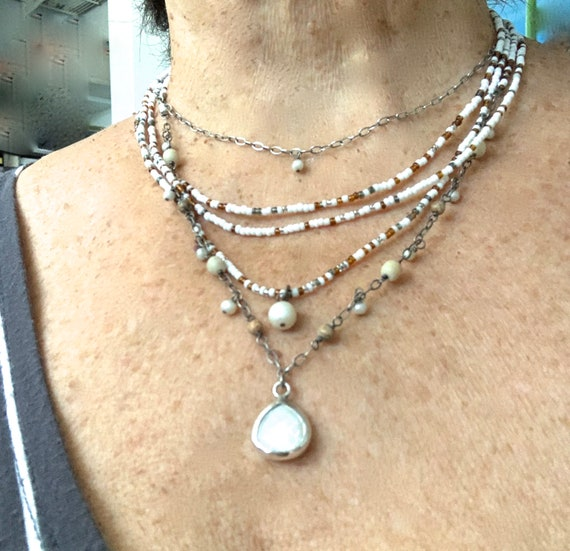 Silpada Multi Layer MOP Necklace. Sterling Silver.