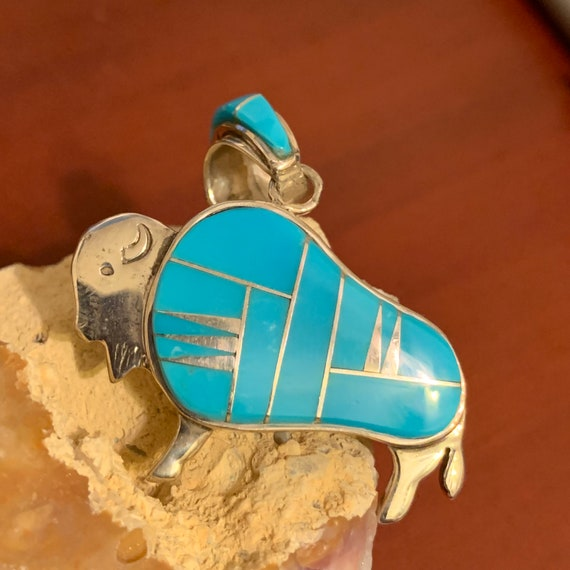 Buffalo Pendant, Turquoise Inlay Sterling Silver B