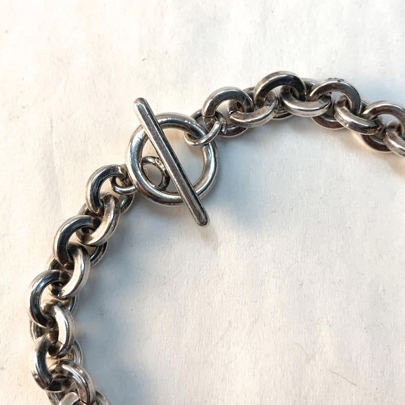 Mens Solid Link Bracelet Toggle Clasp.