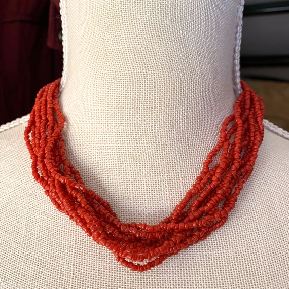 Silpada Coral 10 Strand Red Multi Layer Necklace.
