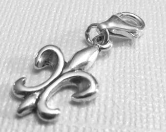 Fleur De Lis Charm Sterling Silver Drops with Lobster Clasp.