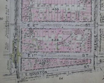 1912 East Village, Alphabet City NYC. From East Houston to E 6th Street, Avenue A to 1st Ave. Manhattan Original Antique Map New York City