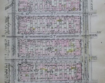 1912 East Village NYC. From E 6th to East 12th Street, between 1st ave and 2nd Avenue. Manhattan Original Antique map New York City