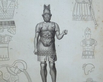 1820 Ancient Armor or Armour Engraving.  Original Antique Print Over 200 years old.