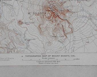 Mount Shasta Map Etsy