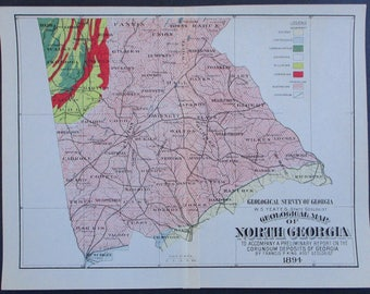 Geologic Map Of Georgia.Georgia Geology Map Etsy