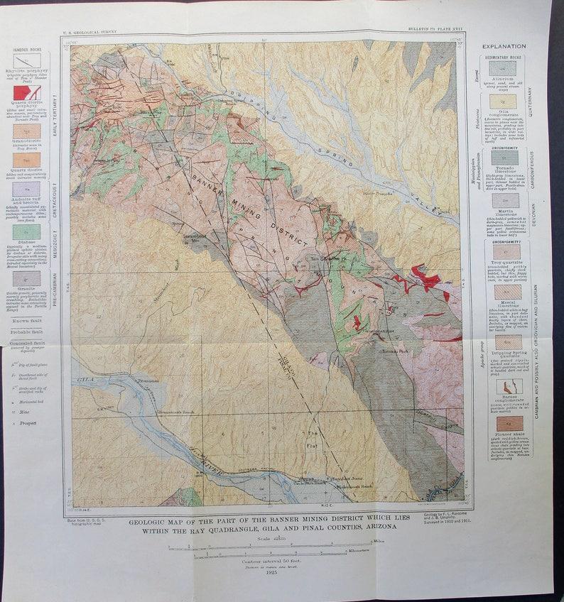 Geologic Map Of Arizona.1925 Banner Mining District Arizona Geological Map Of Gila Etsy