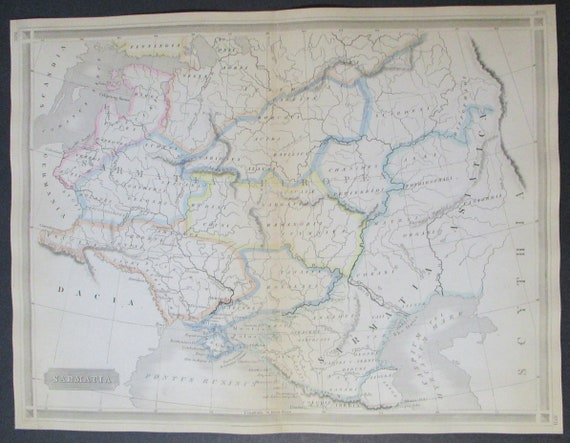 1861 Map Sarmatia, in Eastern Europe, Ural Mountains, Area north of Caspian  Sea in Ancient Times. Handcolored Antique Engraved Original