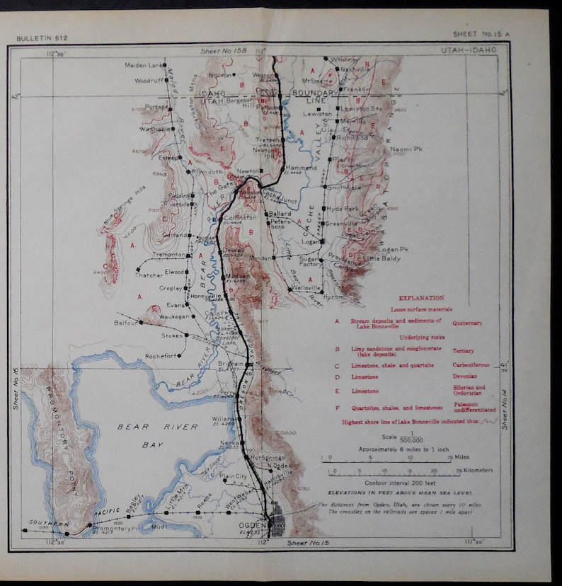 1915 Utah Railroad Map Ogden Bear River Bay Hot Springs | Etsy