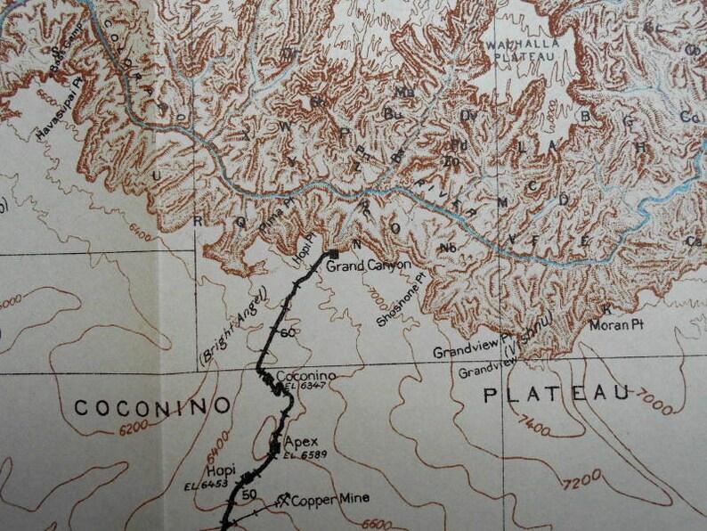 Map Of Arizona Railroads.1915 Railroad Map Arizona Santa Fe Railway Grand Canyon Area Coconino Plateau Apex Hopi Anita Az Antique Geologic Topo Map Vintage