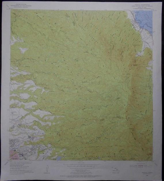 Topographic Map Oahu.Vintage Map Hauula Wahiawa Oahu Hawaii Hi Koolau Range Etsy