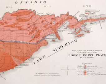 1901 Pigeon Point Area Minnesota-Lake Superior, Grand Portage Bay, Pigeon River, Wauswaugoning Bay, Antique Original Geological Map