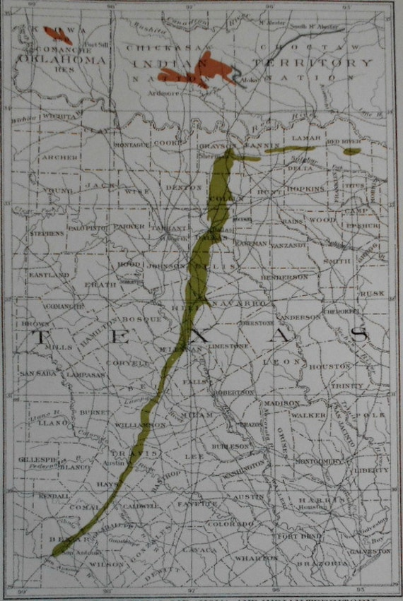 Cement Oklahoma Map.1905 Texas Map Showing Parts Of Tx Oklahoma And Indian Etsy