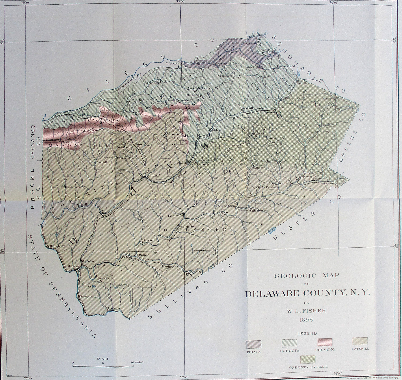 1898 Delaware County NY Geologic Map. New York. Original | Etsy on
