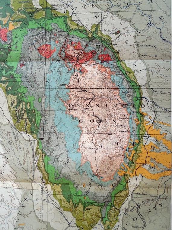 Black Hills SD 1901 Original Antique Map. Preliminary Geologic | Etsy