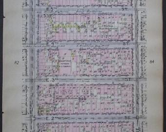 1912 East Village, Alphabet City NYC. From East Houston to E 6th Street, Avenue A to Avenue B. Manhattan Original Antique Map New York City