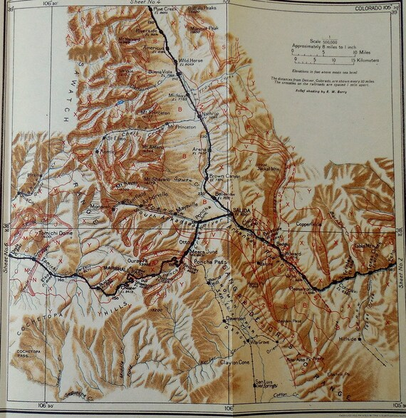 1922 Colorado Railroad Map Salida, Wild Horse, Pleasanton, Marshall Pass,  Arkansas River Ouray CO. Rio Grande Railroad, Antique. Map Vintage