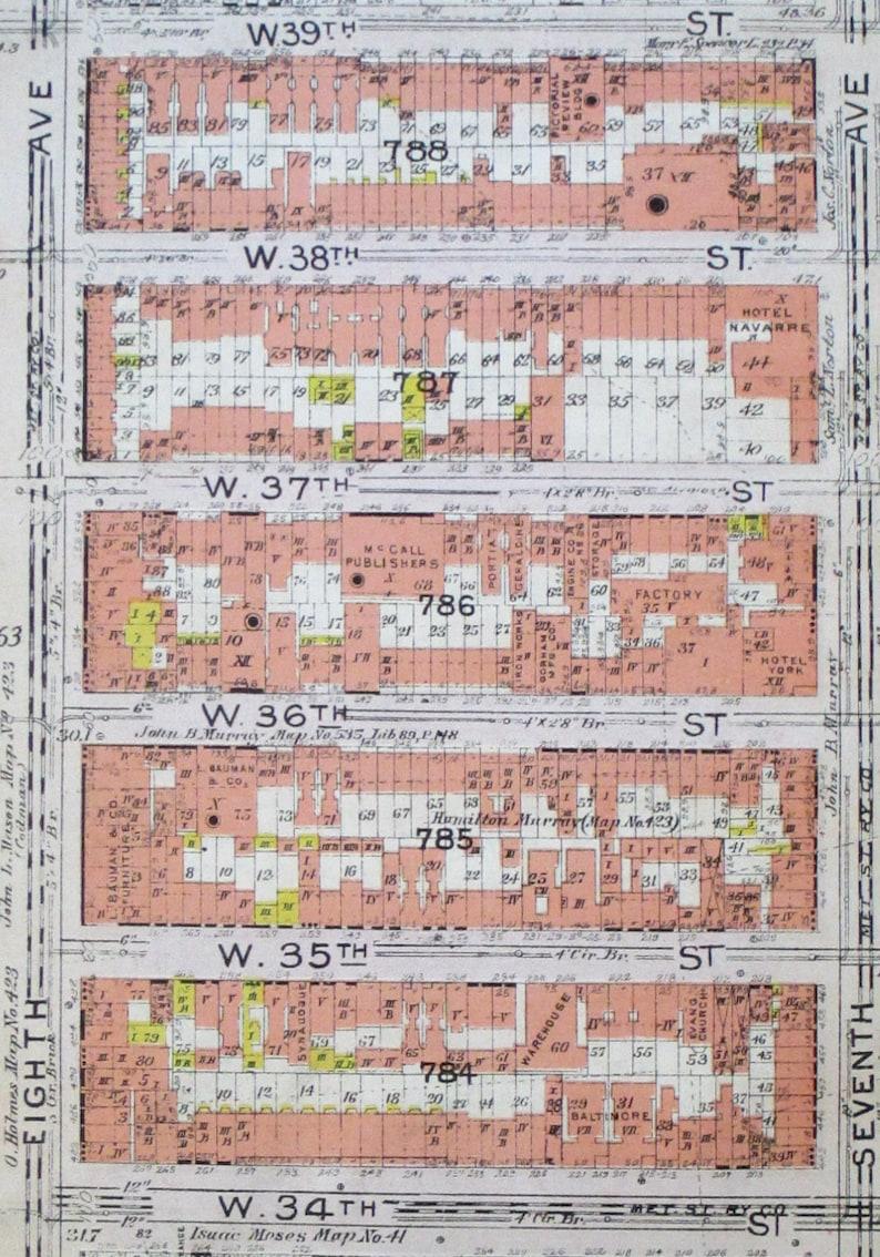 Hells Kitchen New York Map.1912 Hells Kitchen Midtown Manhattan W 34th Street To West Etsy