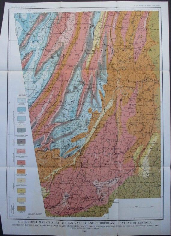 1912 Georgia Appalachian Valley and Cumberland Plateau, Antique Original  Map. Floyd, Polk, Bartow, Gordo, Chattoon, Whitfield Catoosa County