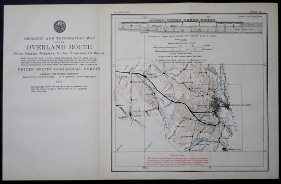 1915 Railroad Map Omaha Council Bluffs Calhoun Cedar Creek Etsy