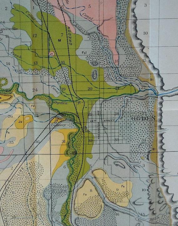 1900 Map Ogden Utah: Great Salt Lake Hooper Plain City Hot | Etsy