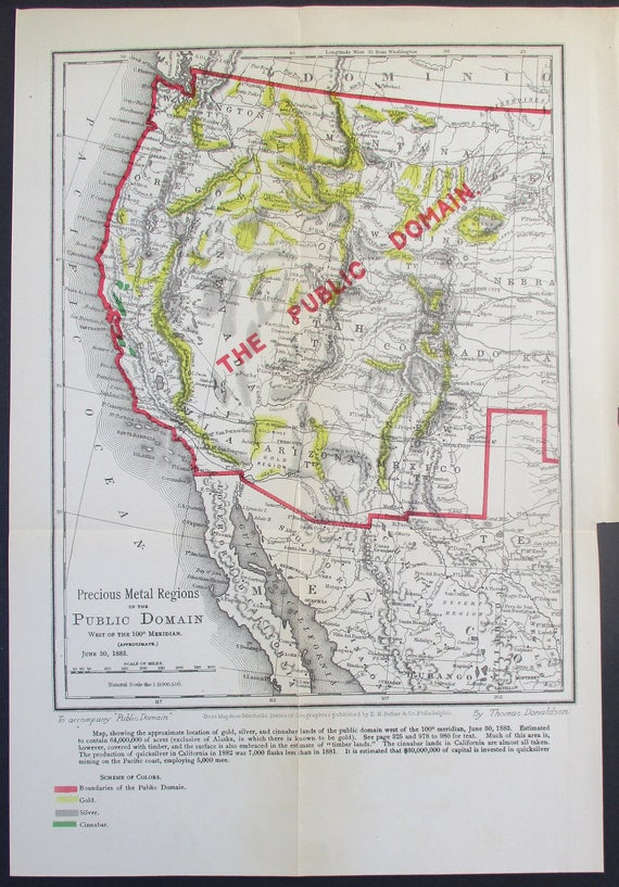 1883 Western United States Gold and Silver Map \