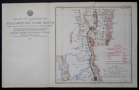 1915 Utah Railroad Map Ogden Bear River Bay Hot Springs   Etsy