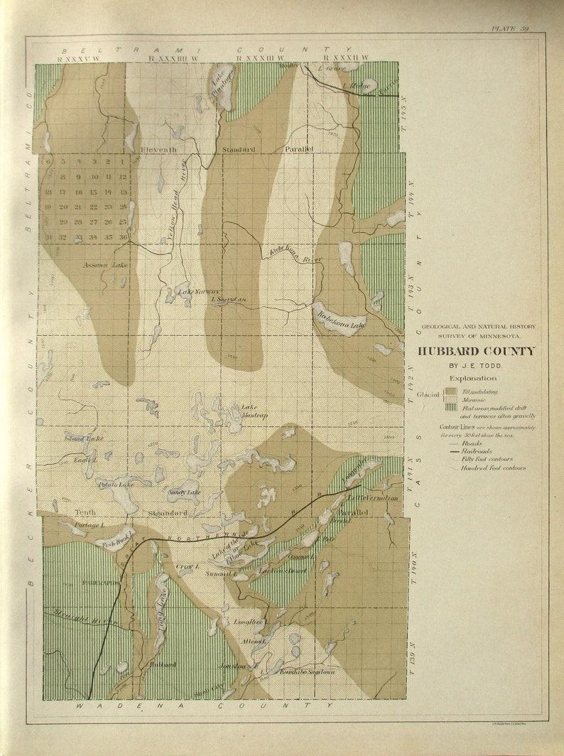 1901 Hubbard County Minnesota MN Kabekona Lake, Plantagenet, Mantrap,  Sandy, Potato, Longwater, Long Lake, Park Rapids Original Antique Map