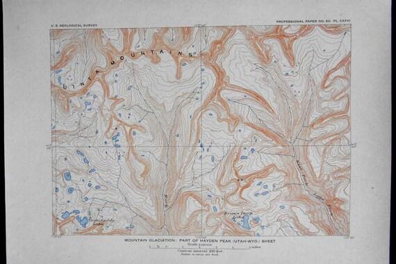 1908 Uinta Mountains Map, Utah/Wyoming border, near Hayden Peak. Grandaddy  Lake, Brown Duck Lake. Antique Original Topo Map UT, WY border