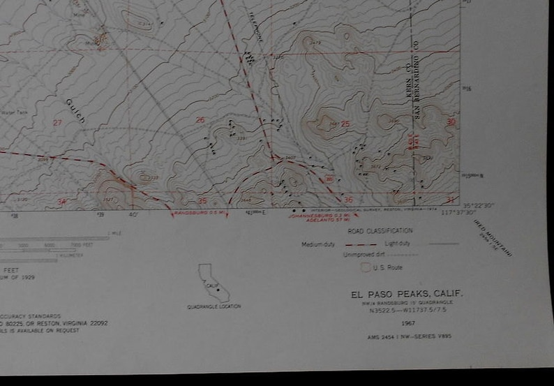 Vintage Map El Paso Mountains, Summit Range Kern County, Goler Heights on