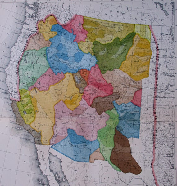 1890 Western United States America Arid Region. Superb Antique Map.  Original Antique Map Lithograph California Nevada Arizona New Mexico