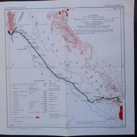 1933 El Paso Alfalfa Ysleta Fabens Tornillo Texas map | Etsy
