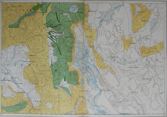 1901 Map Southern Oregon Border: Crater & Klamath Lake.Sugar Pine, Noble  Fir, Western Hemlock, Incense Cedar. Julius Bien Antique Lithograph