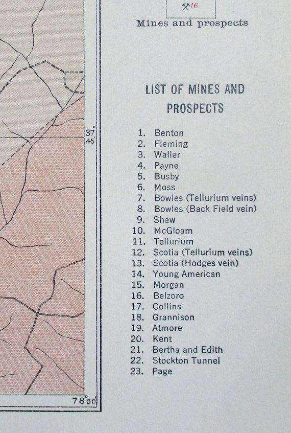 1912 Virginia Gold Belt on James River. Mines, Prospects. Goochland,  Fluvanna Counties. Rare. Antique Original Geologic Map.