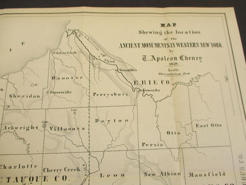 1859 Map Ancient Native American Monuments on Western New   Etsy Cattaraugus County Tax Map on