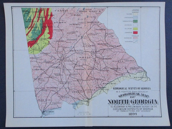 1894 North Georgia Corundum Deposits Map Antique Original. | Etsy