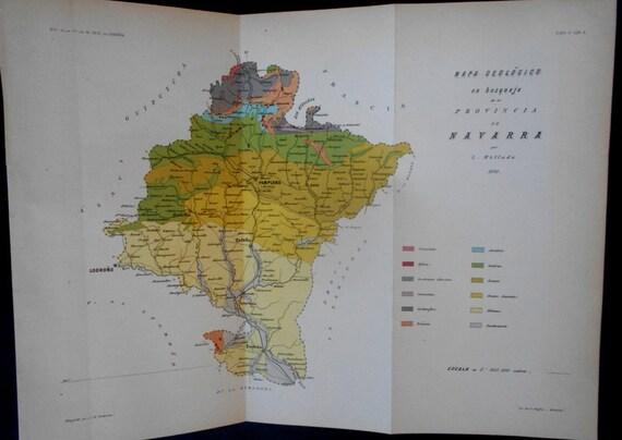 1882 Province Of Navarra Spain Pamplona Tafalla Logrono Etsy