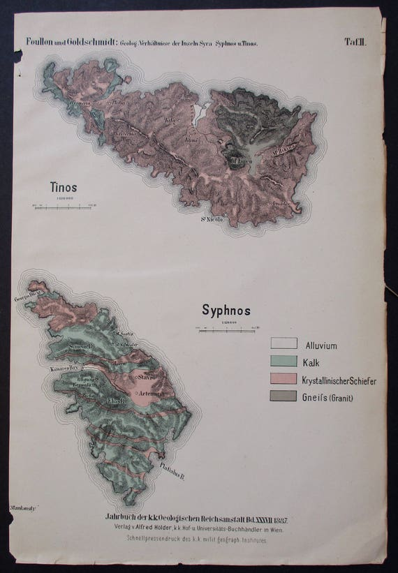 1887 Tinos And Sifnos Greek Islands Greece Isles Syphnos Etsy