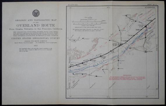 1915 Platte River Nebraska Railroad Map--Central City, Grand Island, Wood  River, Buda, Aurora--Overland Route Original Antique Vintage USGS