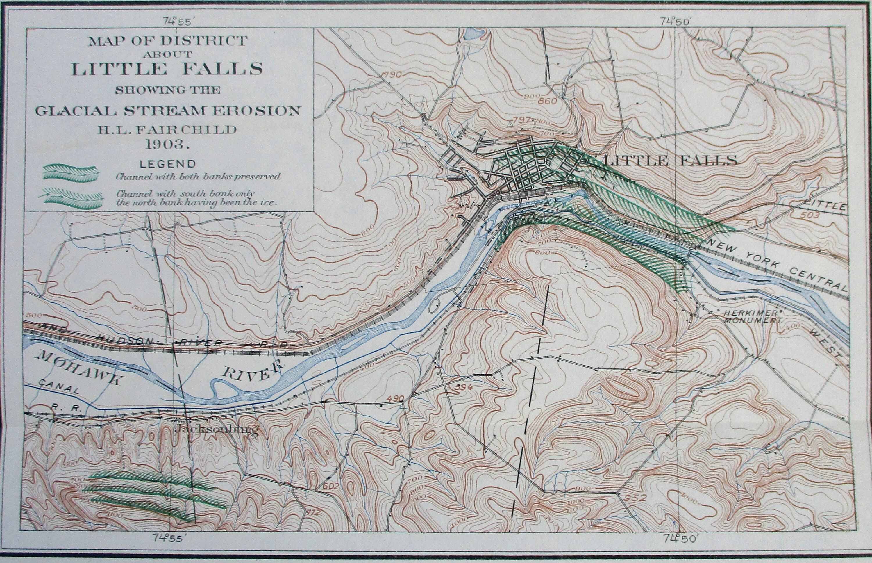 1903 Little Falls New York Map Mohawk River Gorge Ny Central