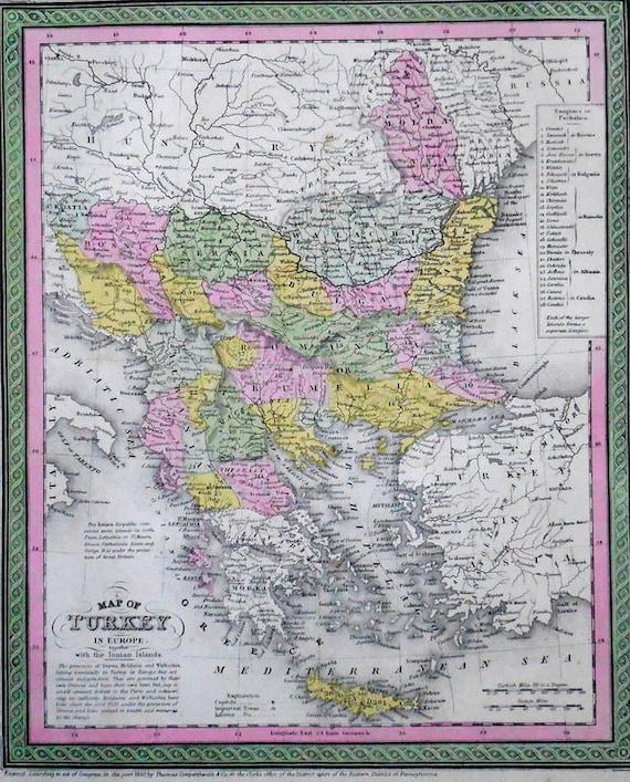 1850 Map Turkey In Europe By Cowperthwait Mitchell Greece Etsy