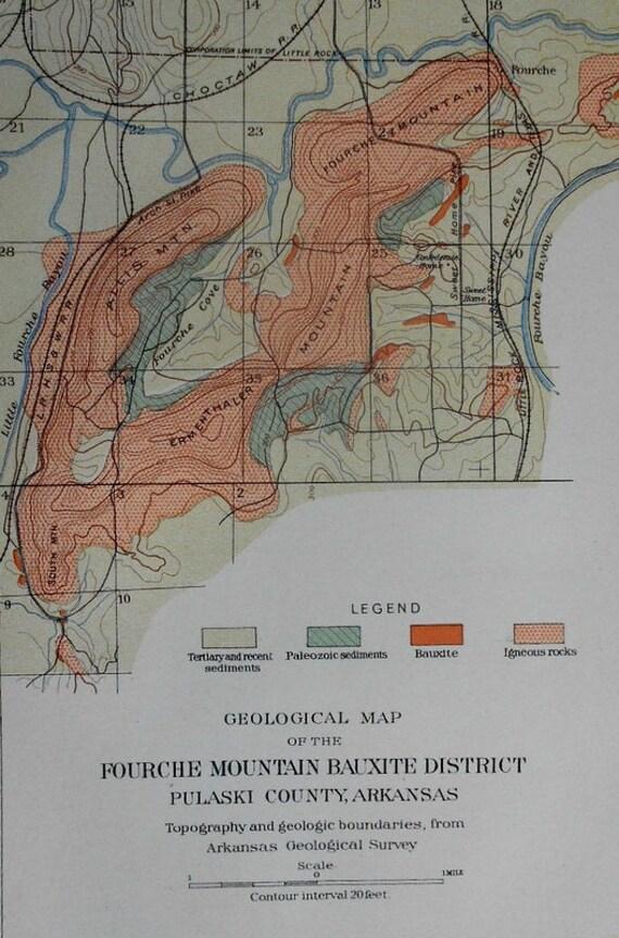 1901 Fourche Mountain Arkansas Map Pulaski County Bauxite Etsy