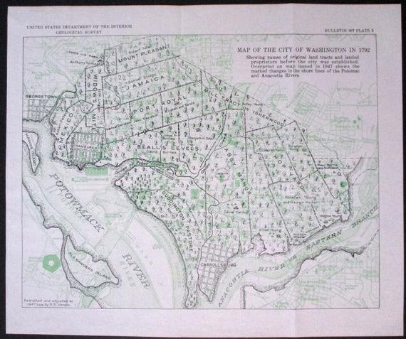 1950 Washington DC Map. District of Columbia Georgetown | Etsy