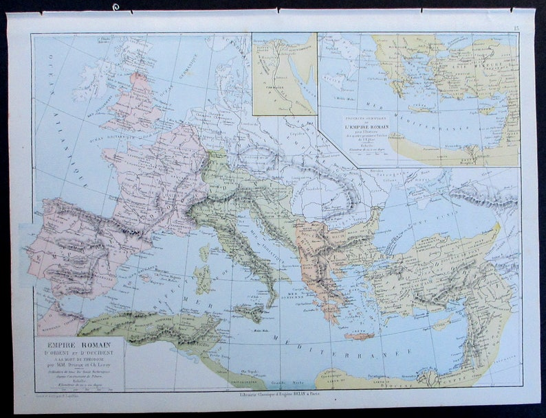 1887 Roman Empire Map At The Death Of Theodosius The Great Etsy
